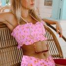 Pink Floral Print Crop Top Bikini Set