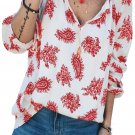 Red 3/4 Sleeve Print V Neck Loose Casual Blouses Top