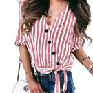 Red Striped Wrap Button Down Shirt