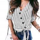 Gray Striped Wrap Button Down Shirt
