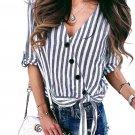 Blue Striped Wrap Button Down Shirt