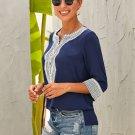 Blue Summer Boho Embroidered V Neck Loose Blouse