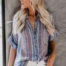 Blue V Neck Stripes Roll up Sleeve Button Down Shirt