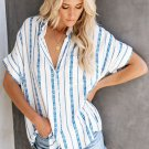 White V Neck Stripes Roll up Sleeve Button Down Shirt