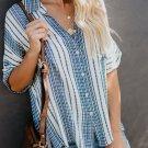 Sky Blue V Neck Stripes Roll up Sleeve Button Down Shirt