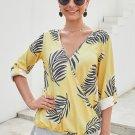 Yellow Tropical Plant & Cross Print Shirt
