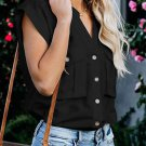 Black Button Down Pocket Cap Sleeve Shirt