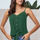 Green Buttoned Knot Front Slip Tank