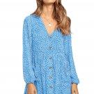 Sky Blue Printed V Neck Buttoned Long Sleeve Shirt Dress