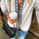White Retro Print V-Neck Blouse Top