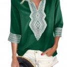 Green Summer Boho Embroidered V Neck Loose Blouse