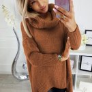 Brown Cowl Neck Handkerchief Hem Sweater