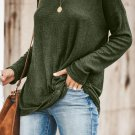 Green Solid Knotted Knitted Top