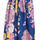 Navy Lilac Floral Elegant Flared Maxi Skirt