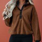 Brown Fleece Pullover Sweatshirt