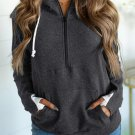 Gray Half-zip Quilted Ampersand Hoodie