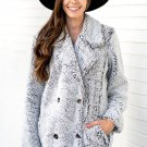 Gray Double-breasted Lapel Plush Jacket