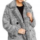 Dark Gray Double-breasted Lapel Plush Jacket