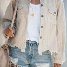 Beige Distressed Cotton Cordury Jacket