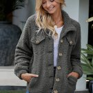 Gray Sherpa Button Up Long Sleeve Jacket