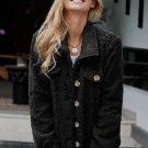 Black Sherpa Button Up Long Sleeve Jacket