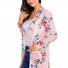 Pink Long Sleeve Floral Cardigan Coat