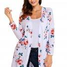 White Long Sleeve Floral Cardigan Coat