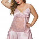 Pink Wrapped V Neck Floral Lace Abdomen Plus Size Babydoll