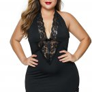 Black V Neck Halter Open Back Plus Size Chemise