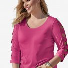 Rose Lattice Quarter Sleeved Plus Size Top