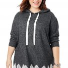 Gray Plus Size Supersoft Hoodie Sweatshirt With Lace Trim