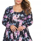 Floral Print Pleated Plus Size Tunic