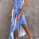 Marine Strapless Tie Dye Asymmetrical Dress