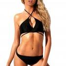 Black Skinny Straps Crisscross Halter Bikini Swimsuit