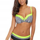 Neon Yellow Trim Zebra Striped 2pcs Bikini Swimsuit