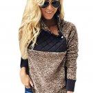 Coffee Fleece Asymmetrical Snap Pullover