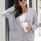 Gray Oversize Button Front Cardigan