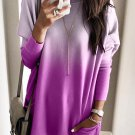 Purple Color Block Pocketed Side Long Top