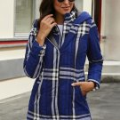 Blue Vintage Plaid Cotton Quilted Trench Coat