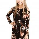 Black Floral Crisscross Shoulder Kids Dress