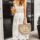 White Crochet Lace Midi Party Dress