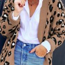 Brown Long Sleeves Leopard Print Knitting Cardigan