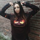 Black Halloween Theme Long Sleeve Pullover Top