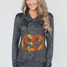 Heathered Black Sweatshirt with Halloween Pumpkin