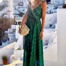 Green V Neck Tunic Satin Maxi Dress