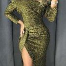 Green Off Shoulder Ruched Thigh High Slit Sequin Dress