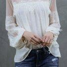 White Fashion Lantern Sleeve Lace Patchwork Top