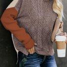 Orange Colorblock Cable Knit Sweater