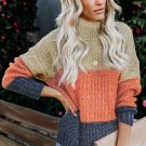 Brown Color Block Netted Texture Turtleneck Sweater
