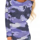 Blue Stand For Something Camo Knit Top